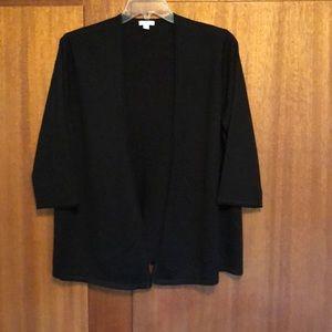 J. Jill Black Open Front Black Sweater Size XL